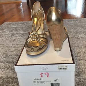 Coach Joslin metallic gold wedge sandal size 8.0